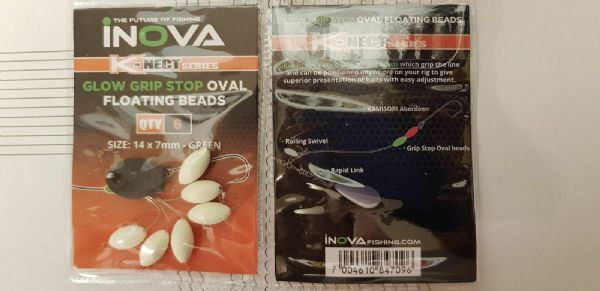 Inova K-Nect Series Oval Glow Stop beads - GREEN
